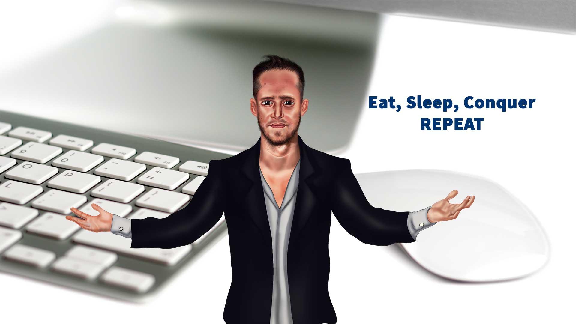 תמונה של יואל דורון עם כיתוב eat sleep conquer repeat